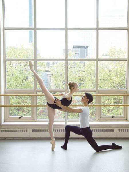 Two Boston Ballet School students dancing on Harlequin Cascade vinyl
