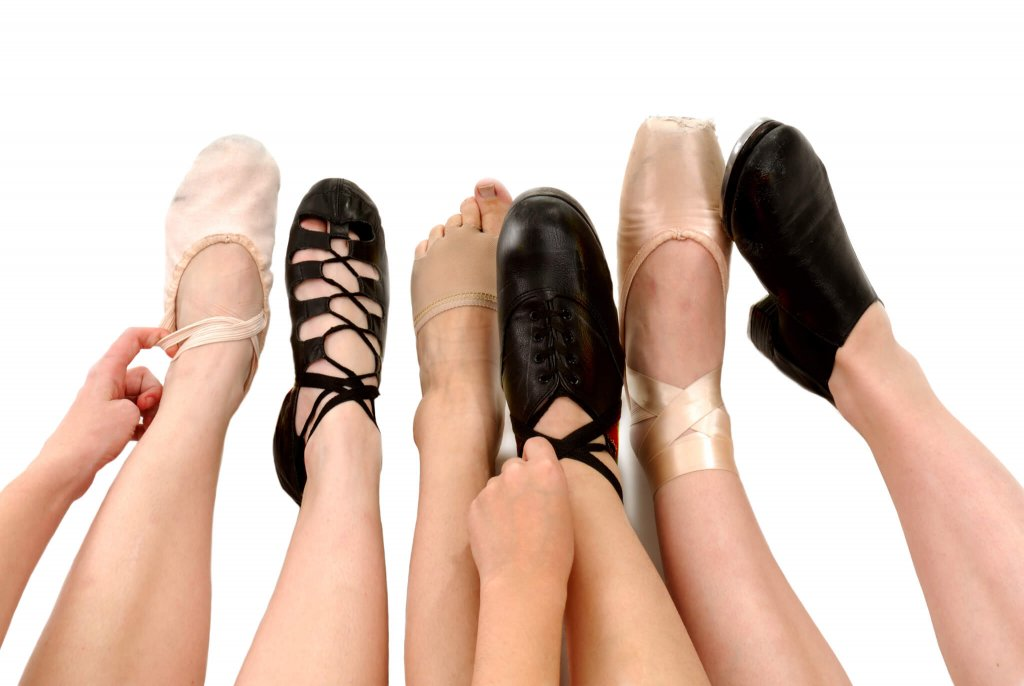 Types of dance represented by different dance shoes