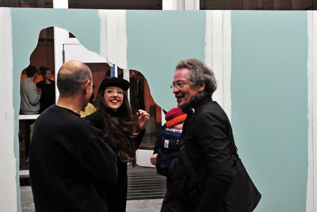 Felicity Hammond conversing with exhibition guests during the opening