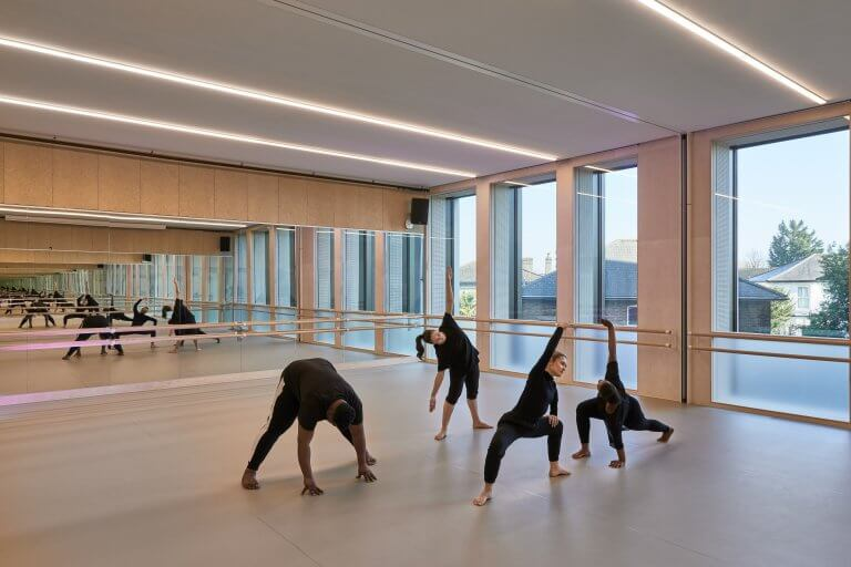 Students rehearsing modern dance on Harlequin floors at Kingston University