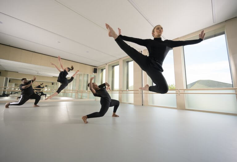 Students using one of the Harlequin-equipped studios for modern dance