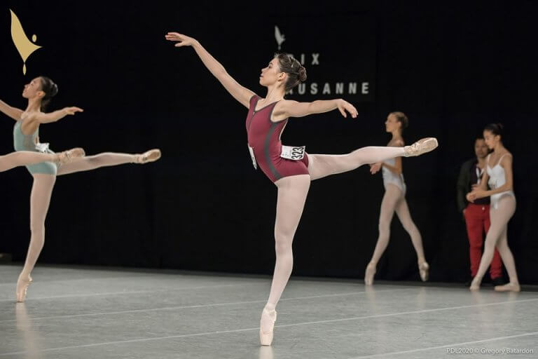 Detail of a young ballerina performing at the competition