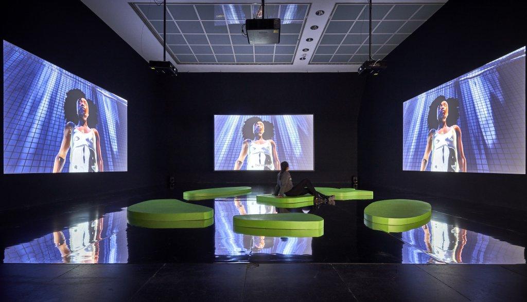 """Feel My Metaverse"" installation on Harlequin Hi-Shine"