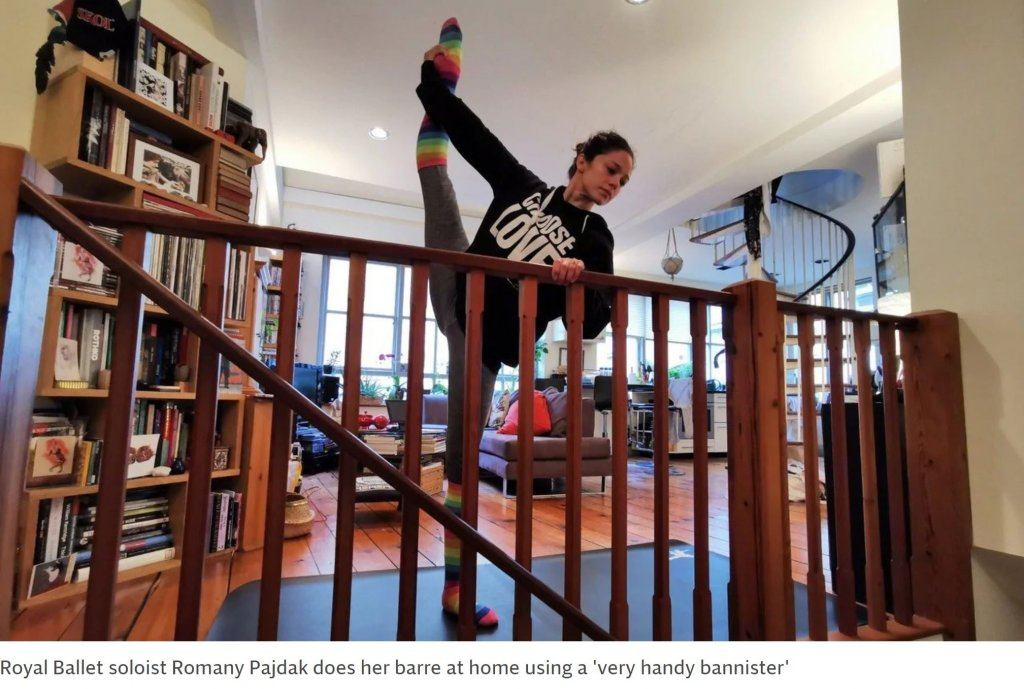 Royal Ballet soloist Romany Pajdak doing her barre at home