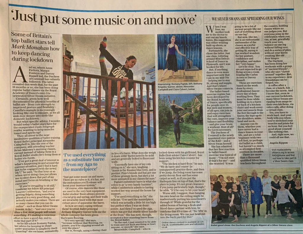 By Mark Monahan, Chief Dance Critic, Daily Telegraph 30th April 2020