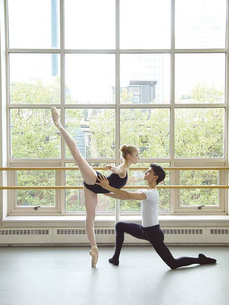 Two Boston Ballet School students dancing on Harlequin Cascade